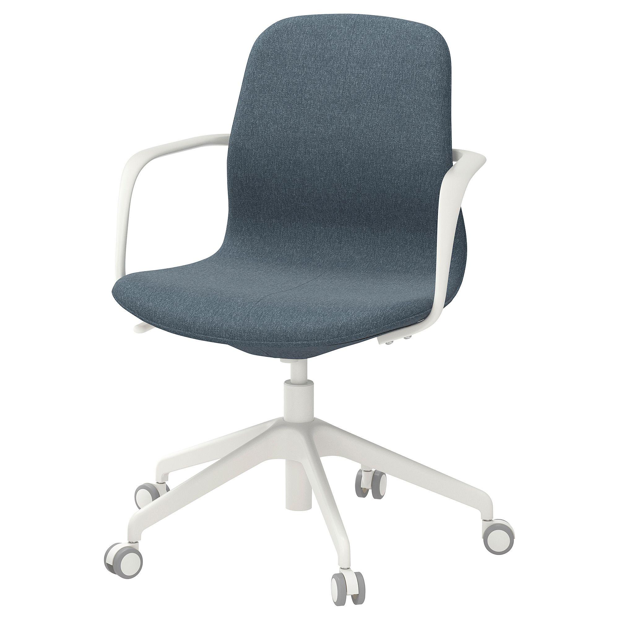 Bürostuhl ikea  IKEA - LÅNGFJÄLL Office chair with armrests Gunnared blue, white in ...