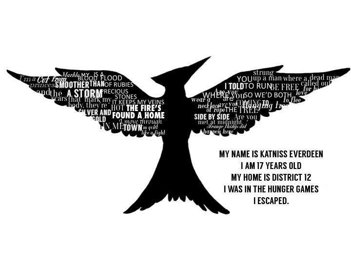 Mockingjay Silhouette With Lyrics From The Hanging Tree And Yellow Flicker Beat