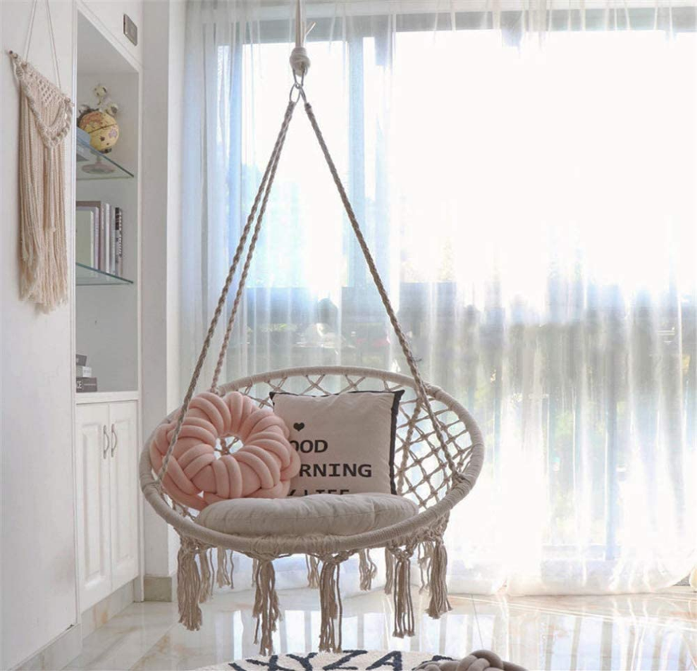 Cotton Weave Relax Hanging Swing Chair With Tassel Hammock Chair With Hanging Hardware Kit In 2020 Hanging Swing Chair Hanging Chair Outdoor Indoor Furniture