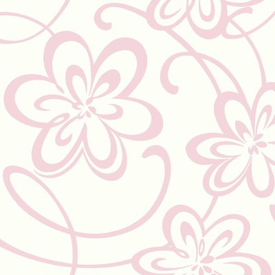 """York Wallcoverings Growing Up Kids Large Floral with Scrolls Removable 27' x 27"""" Wallpaper Roll Color: White / Pink Glitter"""