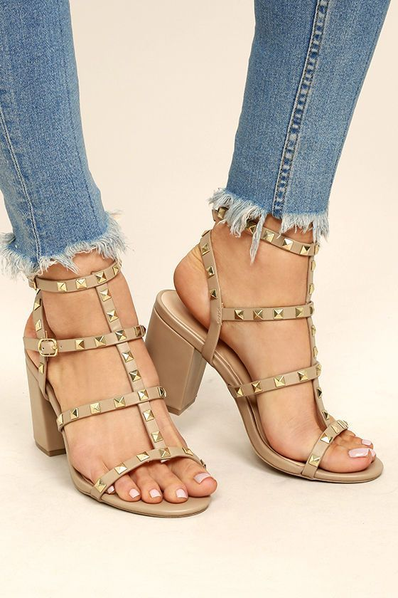 2b5742dd8 Josie Nude Lucite Studded Gladiator Sandals ($26) ❤ liked on Polyvore  featuring shoes, sandals, beige, studded sandals, beige stra… | My Polyvore  Finds ...