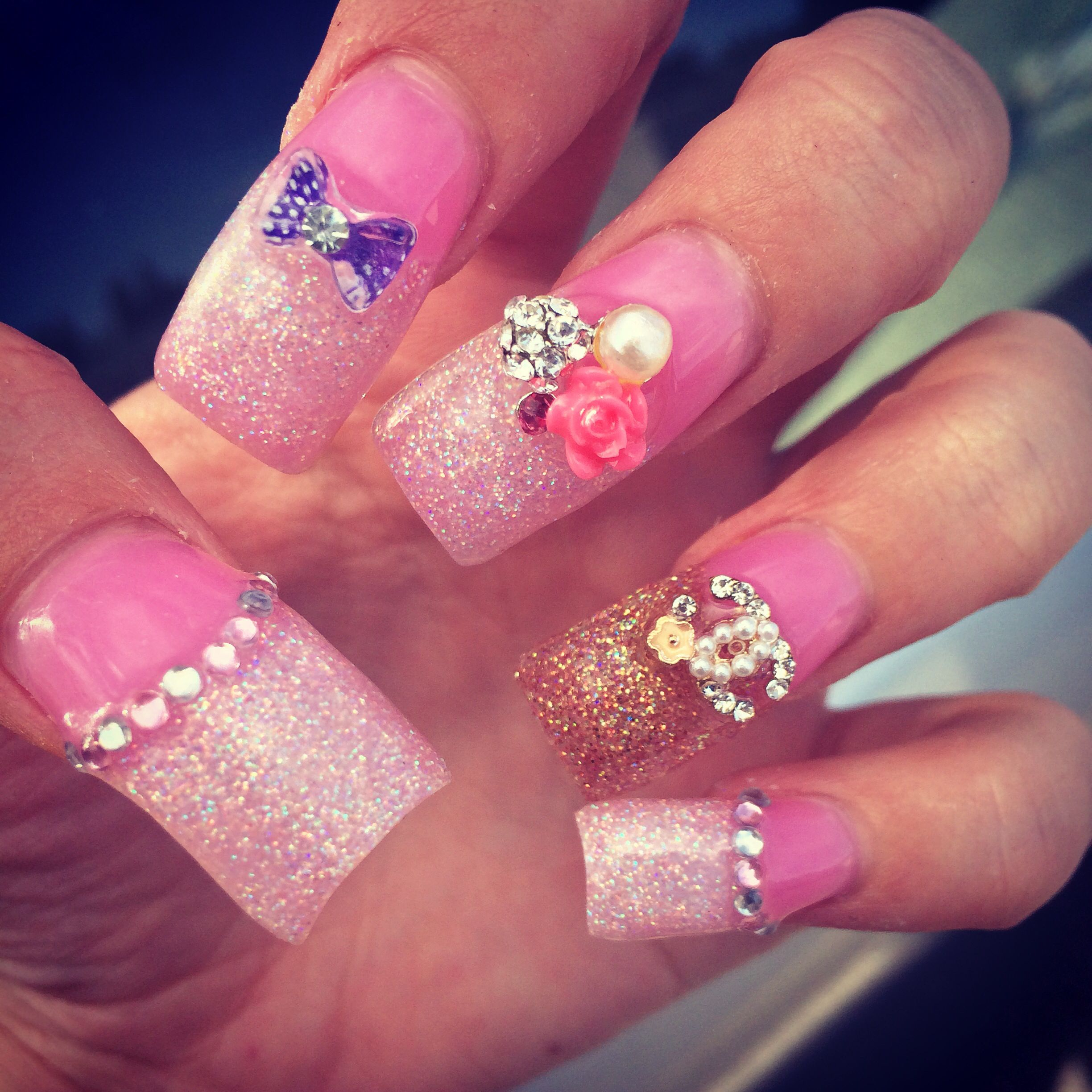 Long Thick Pink Acrylic With Rhinestones And Bling Accents Nails Pink Acrylics My Nails