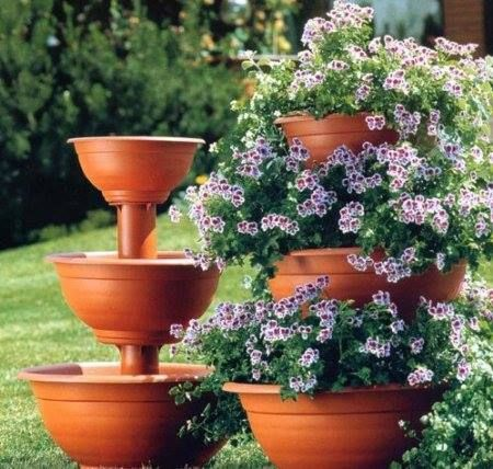 Stacked Terracotta Planters Plants Garden Containers Tiered