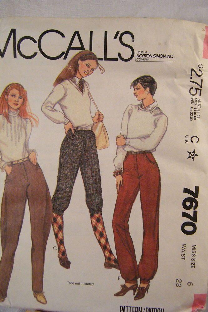 Vintage McCall\'s Pattern 7670 Misses\' Pants Jodhpurs Knickers Sz 6 ...