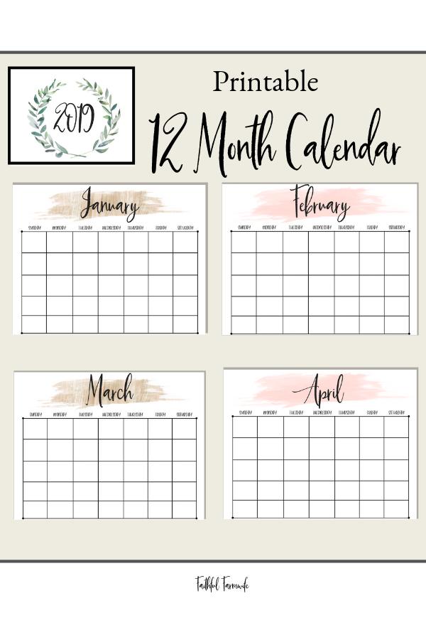 2019 Printable Calendar Monthly Monthly calendar