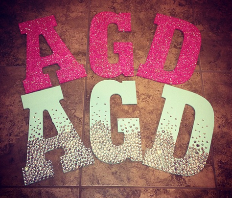 Wooden letters sorority craft one is painted and covered for Sparkly wooden letters