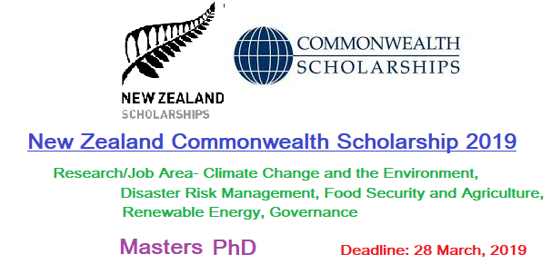 New Zealand Commonwealth Scholarships 2019 (Masters/PhD