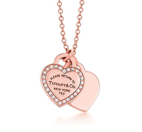 ba5c2424f Tiffany & Co. | Item | Return to Tiffany™ mini double heart tag pendant in 18k  rose gold with diamonds. | United States