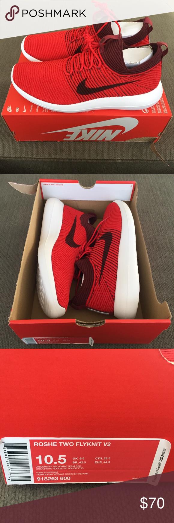 e0ec7262b5a91 Nike Roshe Two Flyknit V2 Red Shoes Men s 10.5 NWB Nike Roshe Two Flyknit  V2 University
