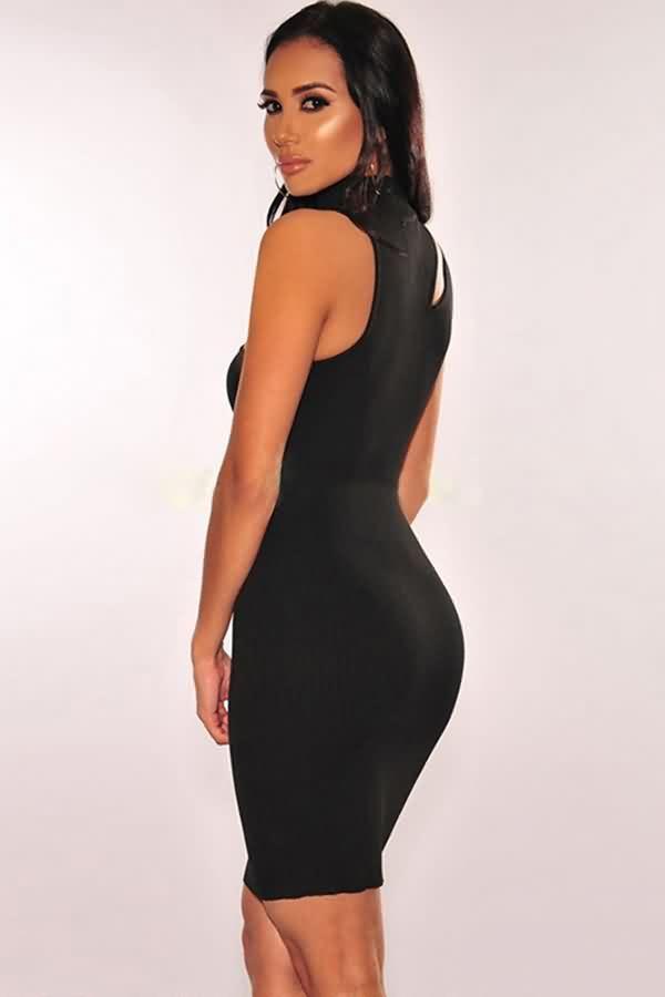 cc8c598e50 Women Black Ribbed Cutout High Neck Sleeveless Sexy Bodycon Dress ...