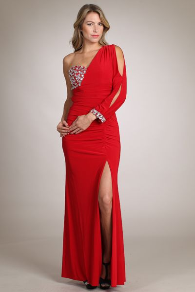 Gorgeous Red One Arm Evening Gown With Sequin Bust New Gently