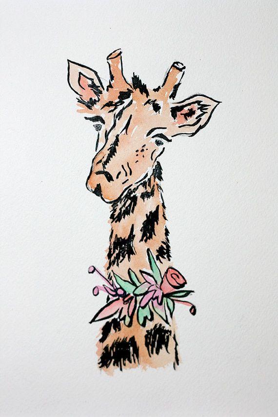 Giraffe Print $25.00 | Hattan Home 8x10 #LauraDro #baby #animal #art #nursery #kids #print