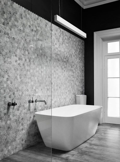 It S All About Hexagons 10 Unique Ways To Use Hex Tiles In Your Home Grey Bathroom Tiles Small Bathroom Bathroom Flooring