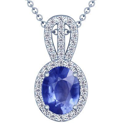 Platinum Oval Cut Blue Sapphire And Round Diamond