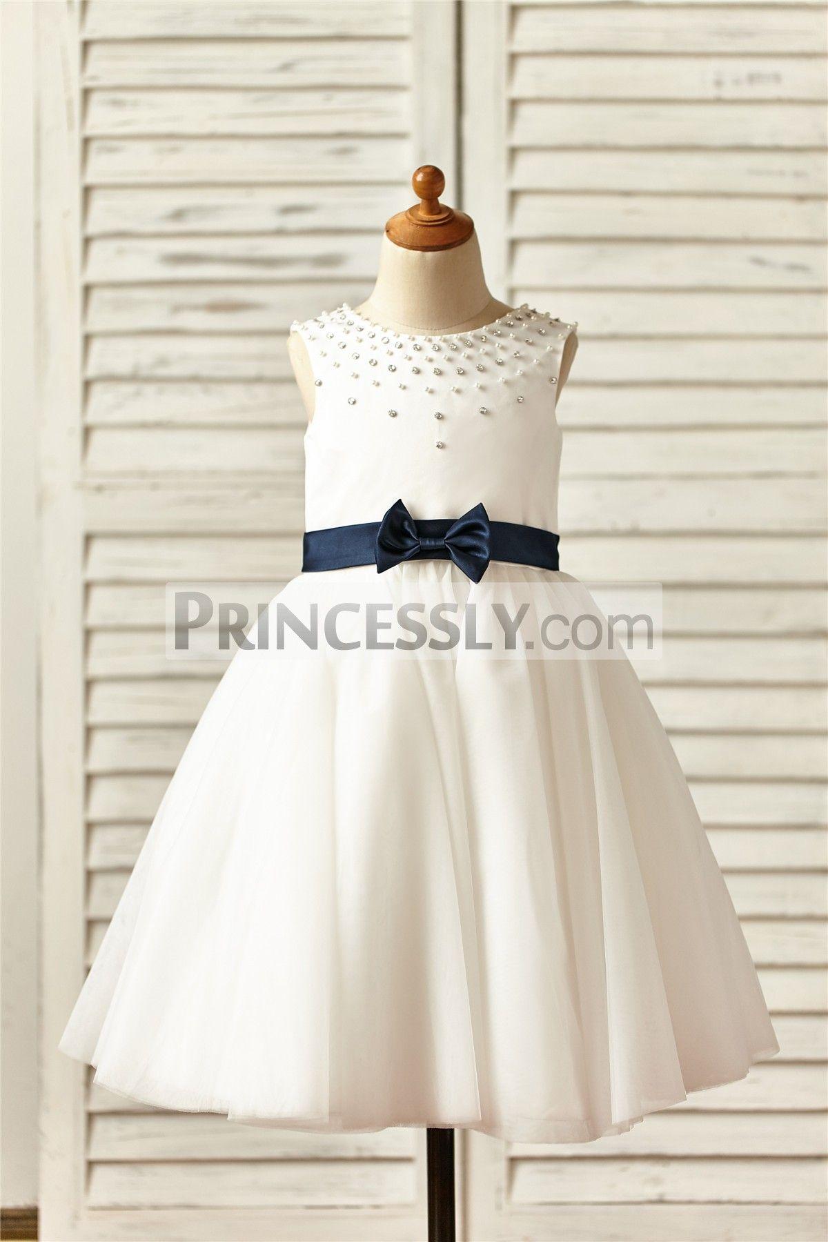 Ivory satin tulle tutu flower girl dress with navy blue sashbow