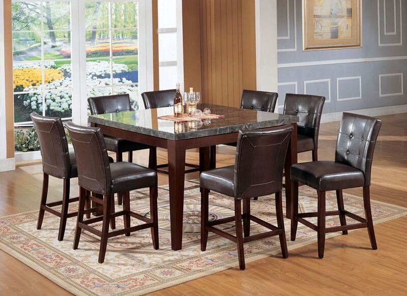 Acme 07059 07055 7 Pc Danville Walnut Finish Wood Black Marble Top Counter Height Dining Table Set Counter Height Table Sets Dining Table Dining Table Marble
