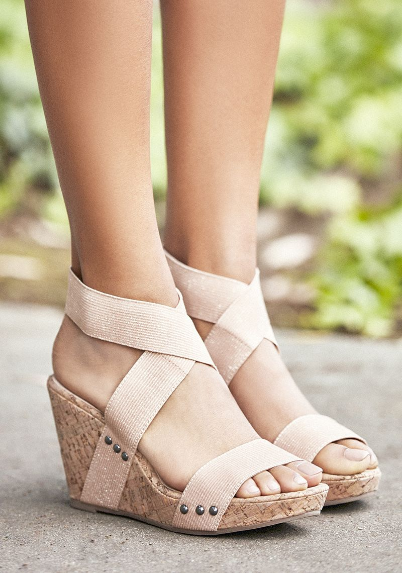 67352083936 Platform wedges with crisscross fabric straps
