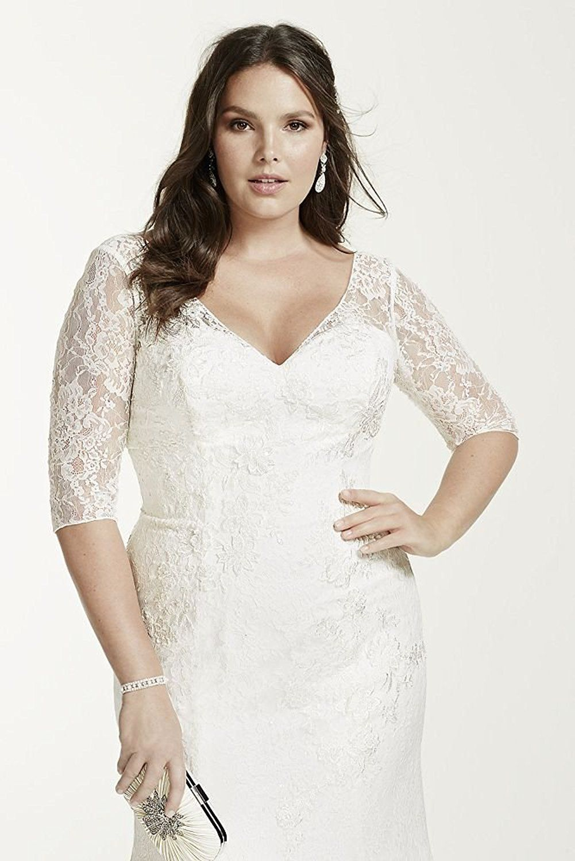 Affordable Plus Size Wedding Dress 34 Sleeve Lace Trumpet Plus