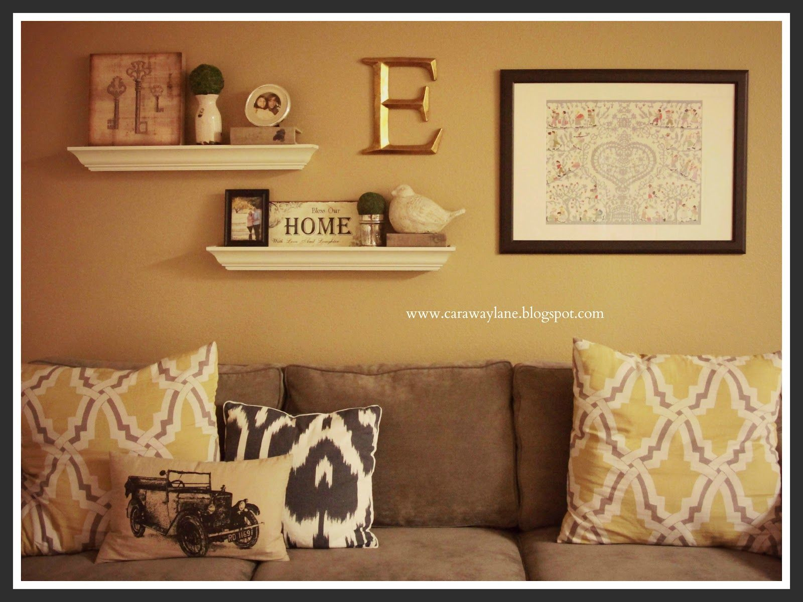 Decorate over a sofa above the couch wall decor future for Loveseat decorating ideas