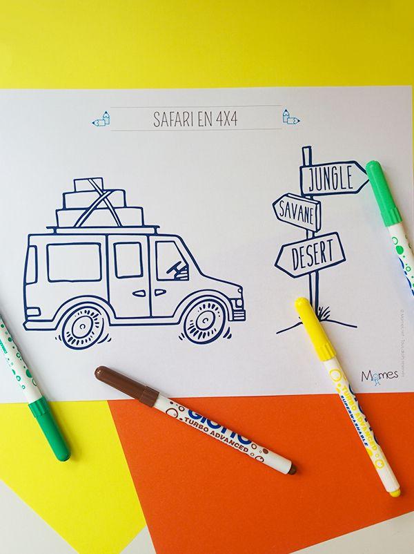 coloriage d'un safari en 4x4