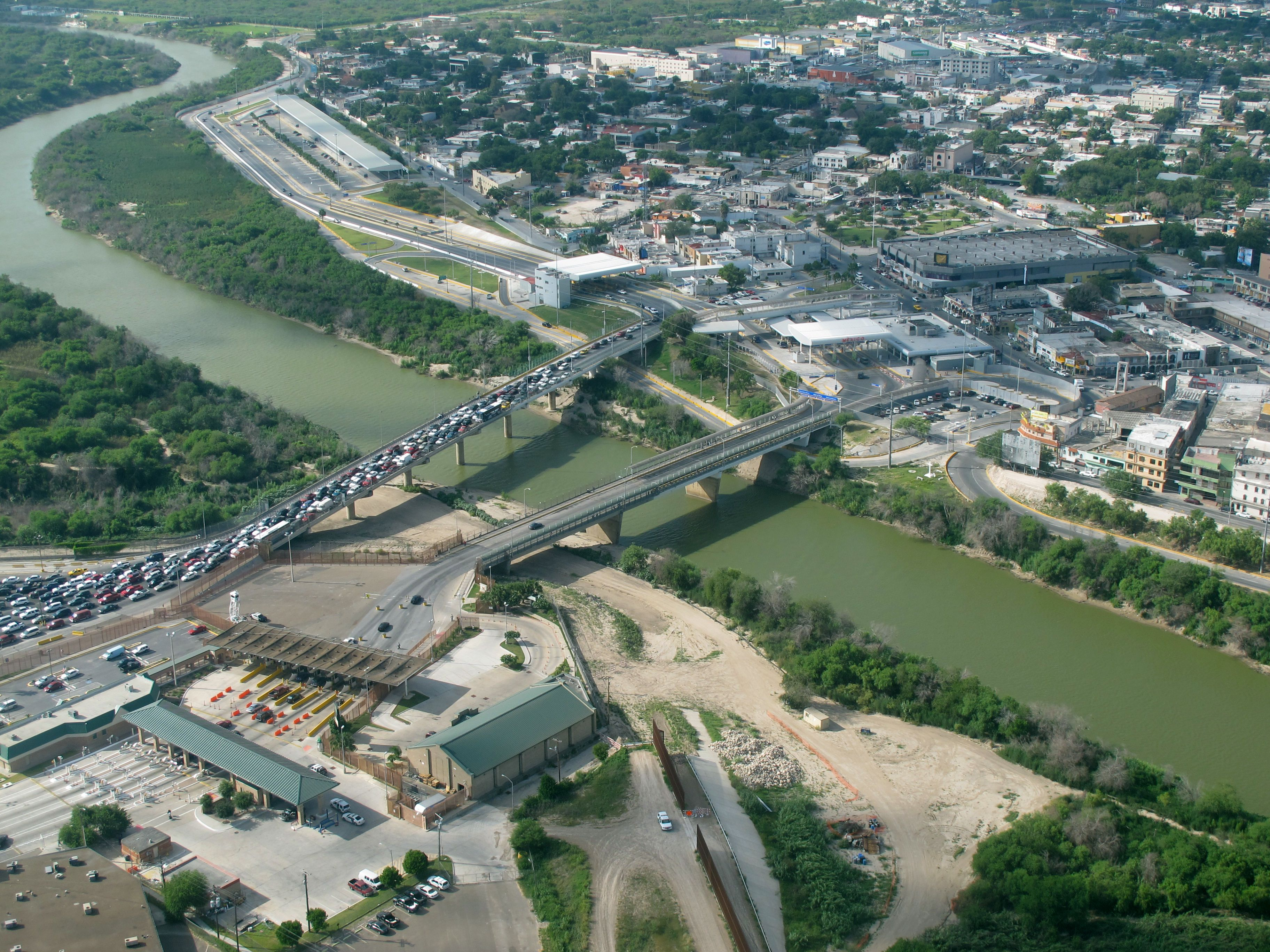 Aerial of mcallen hidalgo international bridge