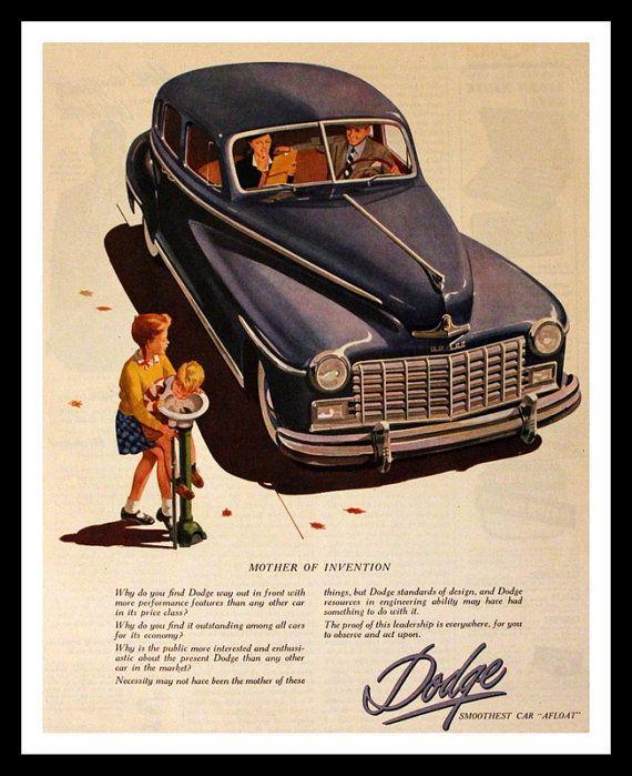 1947 Dodge Sedan Ad Wall Art Home Decor