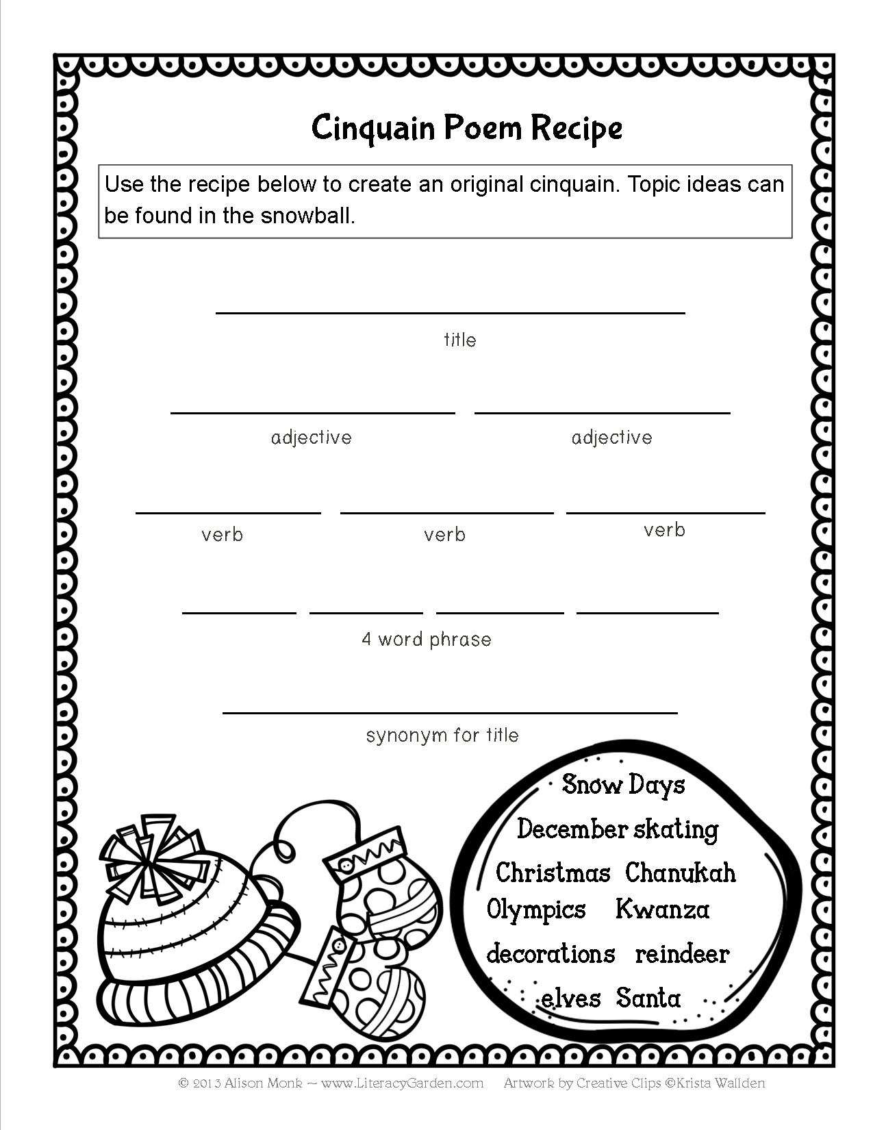 Writing A Cinquain Worksheet   Printable Worksheets and Activities for  Teachers [ 1650 x 1275 Pixel ]