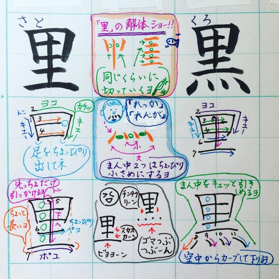 小2で習う漢字 里 黒 里 の一番下のヨコ線はほんのちょっぴりポコってすると全体に安定感が出るね 黒 は てんてん ヽ 4 の方向と大きさの違いに気をつけてみてね 擬音語 擬態語オンパレードでごめんなさい 文字の書き方は