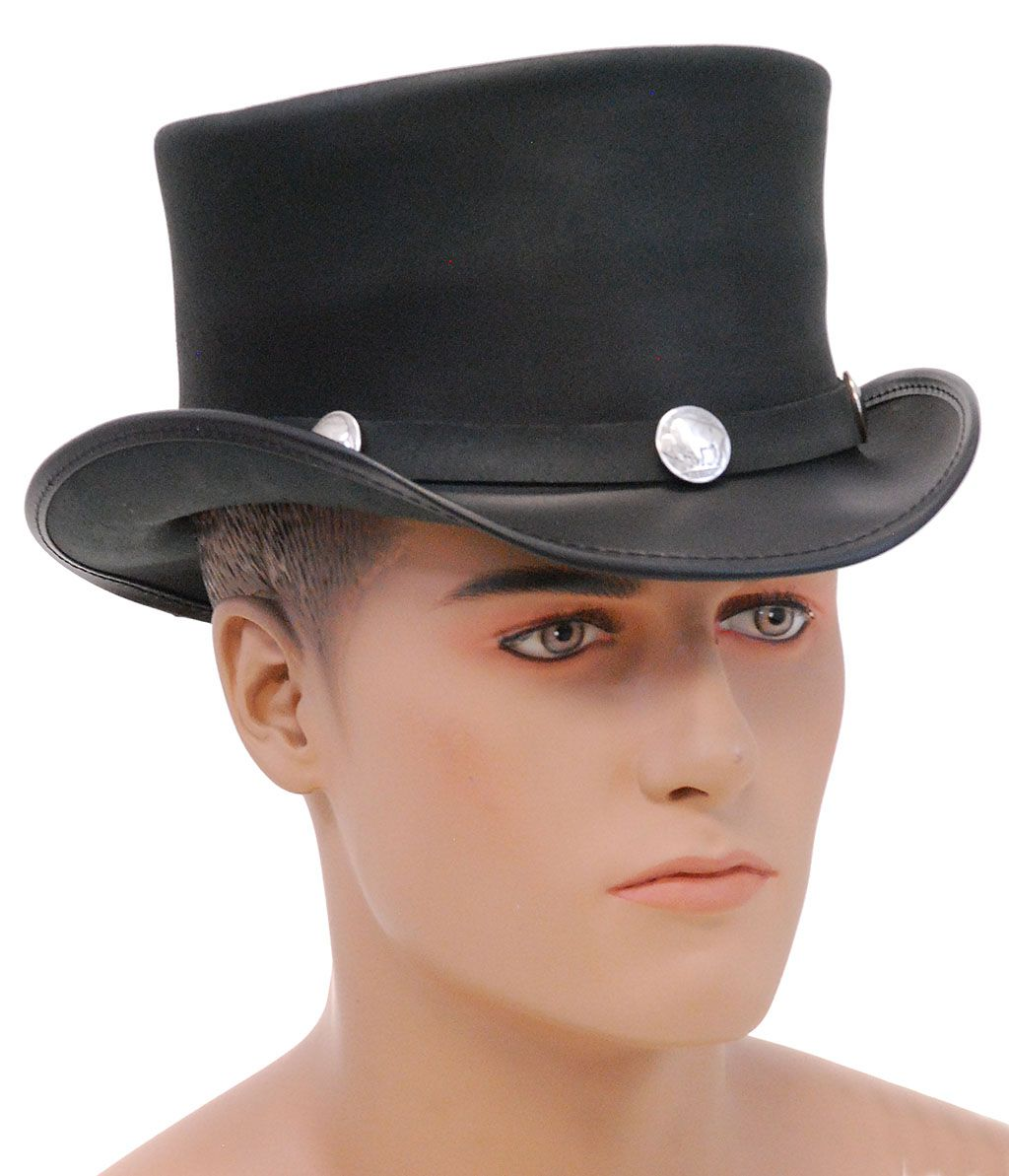 9f10650f424 SteamPunk Buffalo Nickle Black Leather Top Hat  H59TOPPER Vintage classic  black leather top hat with