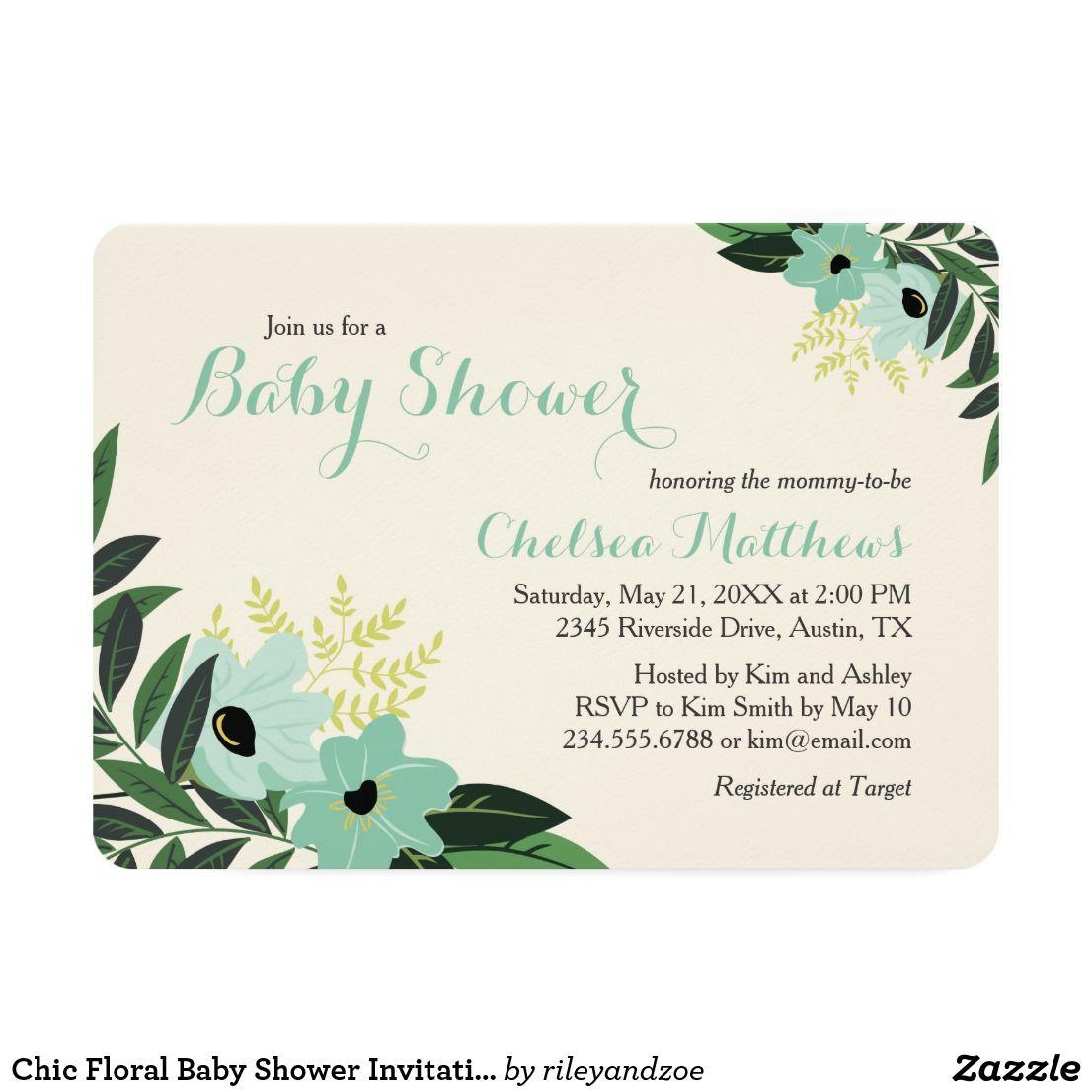 Chic Floral Baby Shower Invitation Chic modern elegant baby shower ...