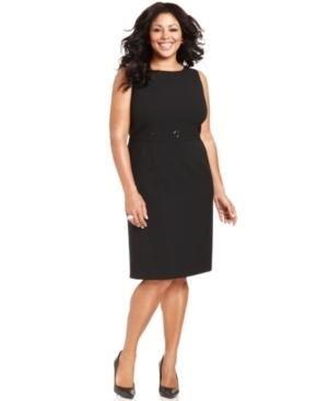 41a4d04204709 Tahari by ASL Plus Size Dress, Sleeveless Buckle-Detail Sheath ...