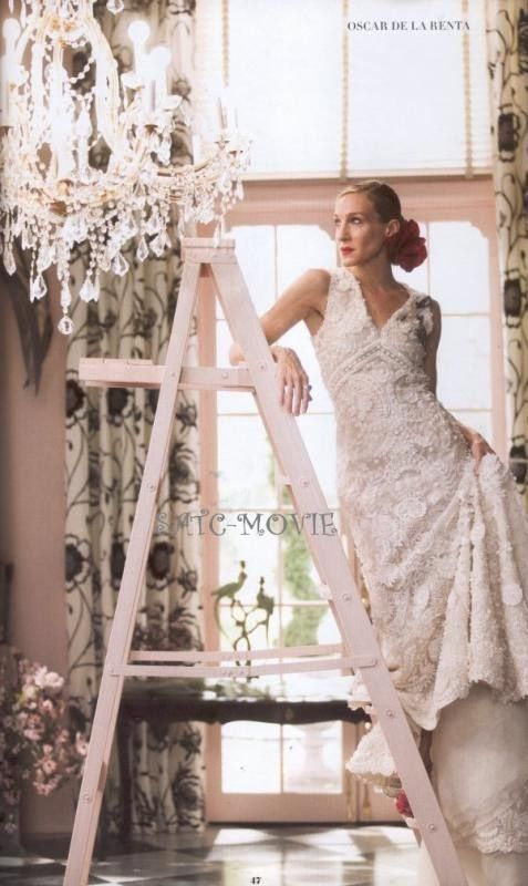Carrie Bradshaw In Oscar De La A Wedding Dress And The City My Favorite