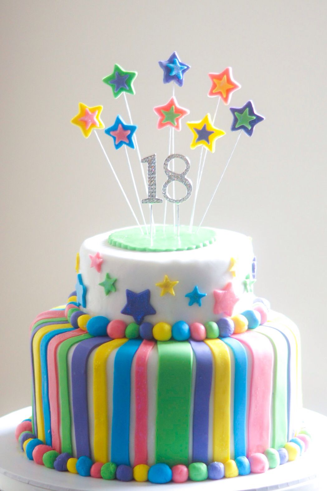 Stripes and stars 18th birthday cake⭐️