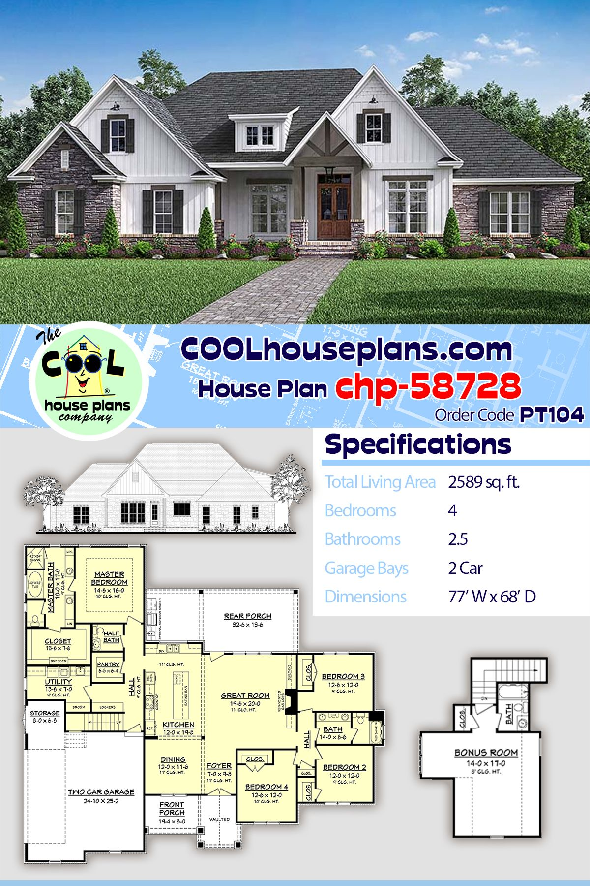 Traditional Style House Plan 51968 With 4 Bed 3 Bath 2 Car Garage Craftsman House Plans Best House Plans Craftsman Style House Plans