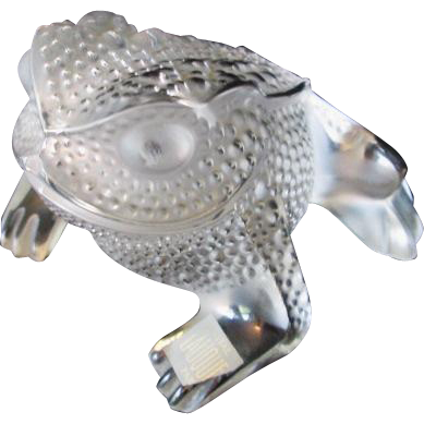 lalique frog paperweight