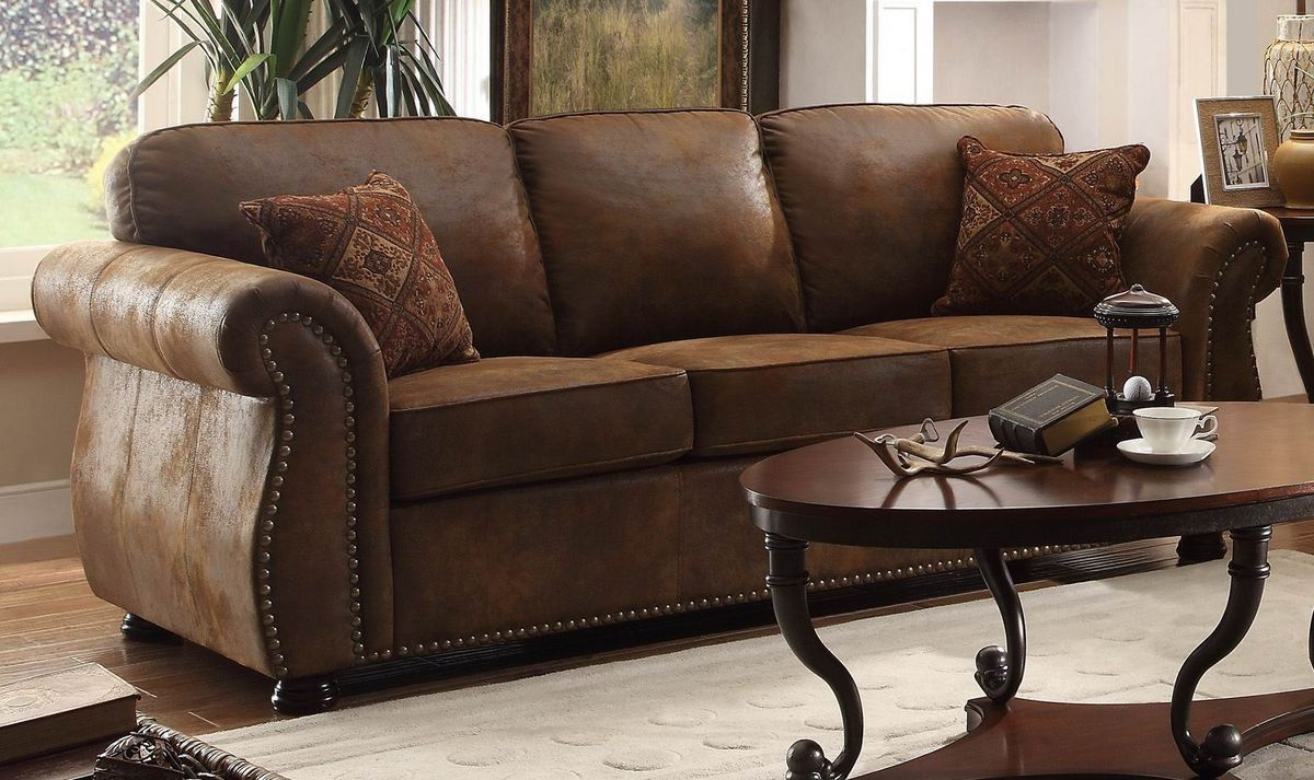 Comfortable Brown Microfiber Couch For