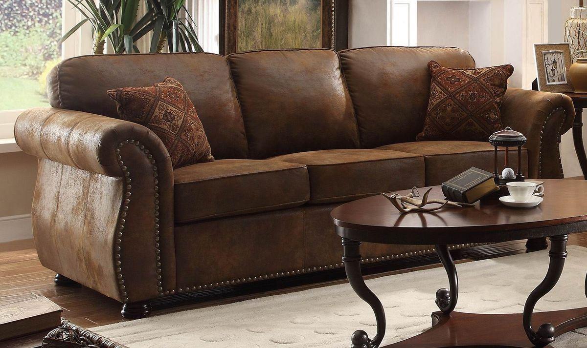 Comfortable Brown Microfiber Couch For Elegant Living Room Design