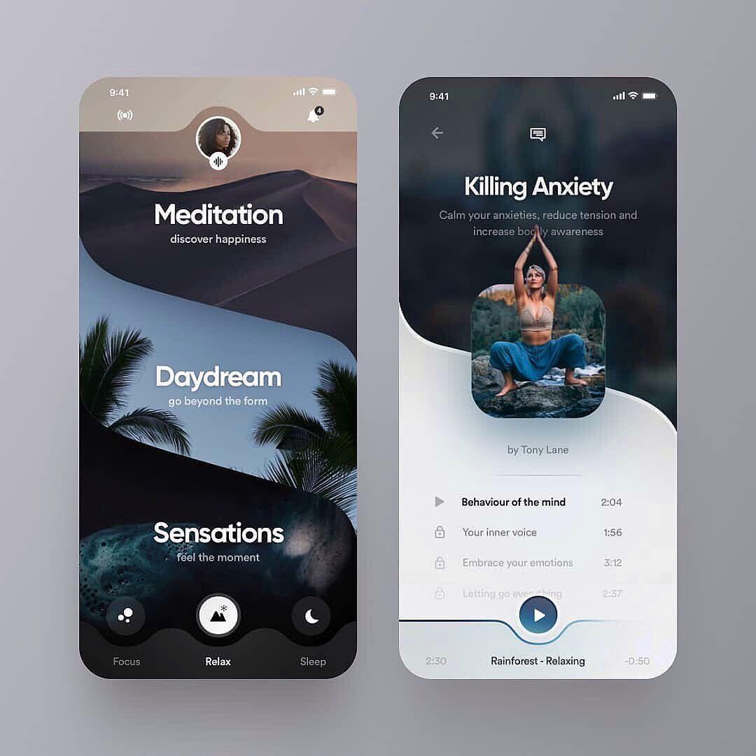 Meditation Guidance App User Interface Design Concept |