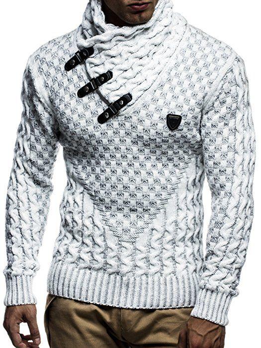 LEIF NELSON Herren Strickpullover Pullover LN5255; Größe S