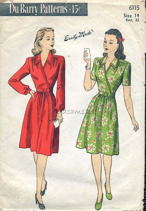 Du Barry 6115 Vintage 1940s Pattern Wrap Dress Flared Skirt by sydcam123