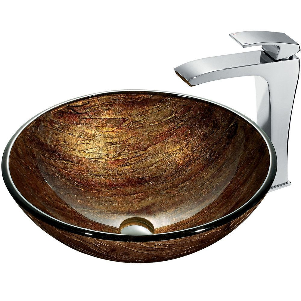 VIGO Amber Sunset Glass Vessel Sink and Faucet Set in Chrome ...