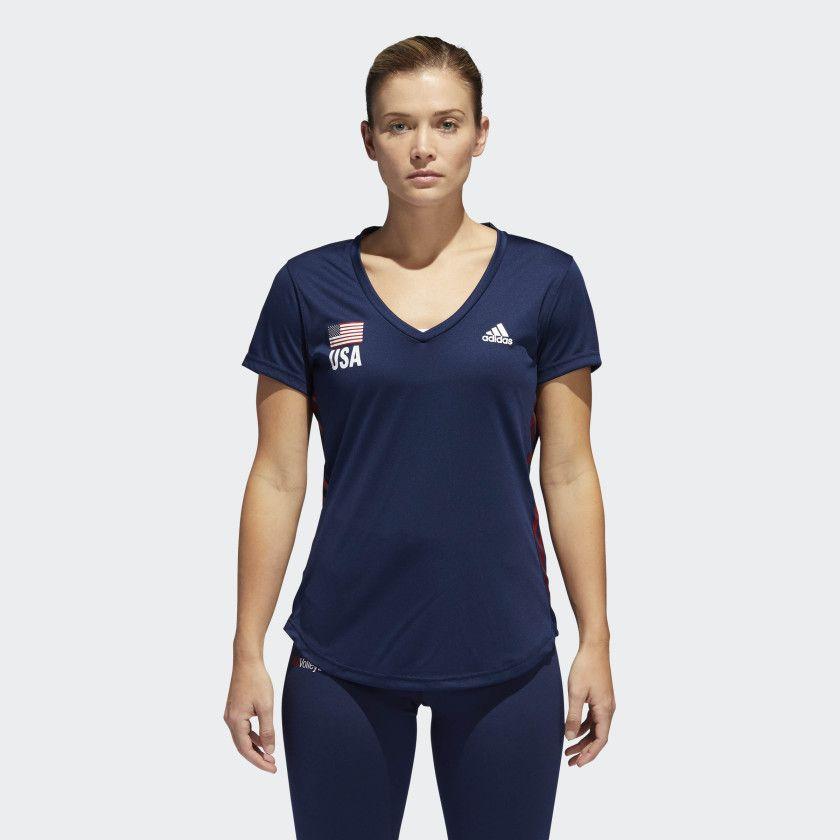 Usa Volleyball Replica Tee Collegiate Navy Power Red Cf1594 Juniors Activewear Adidas Women Volleyball Shirt