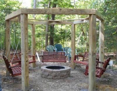 Porch Swings Fire Pit Circle Patio Outdoor