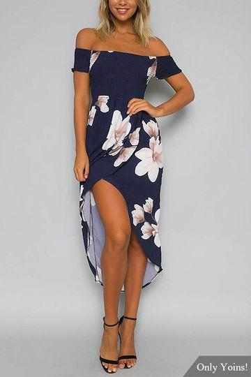 Impresión floral al azar de hombro vestido de Midi | fashion 5 ...