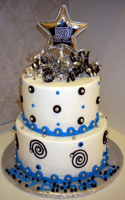 50th Birthday Blue Black Silver Cakes Specialty