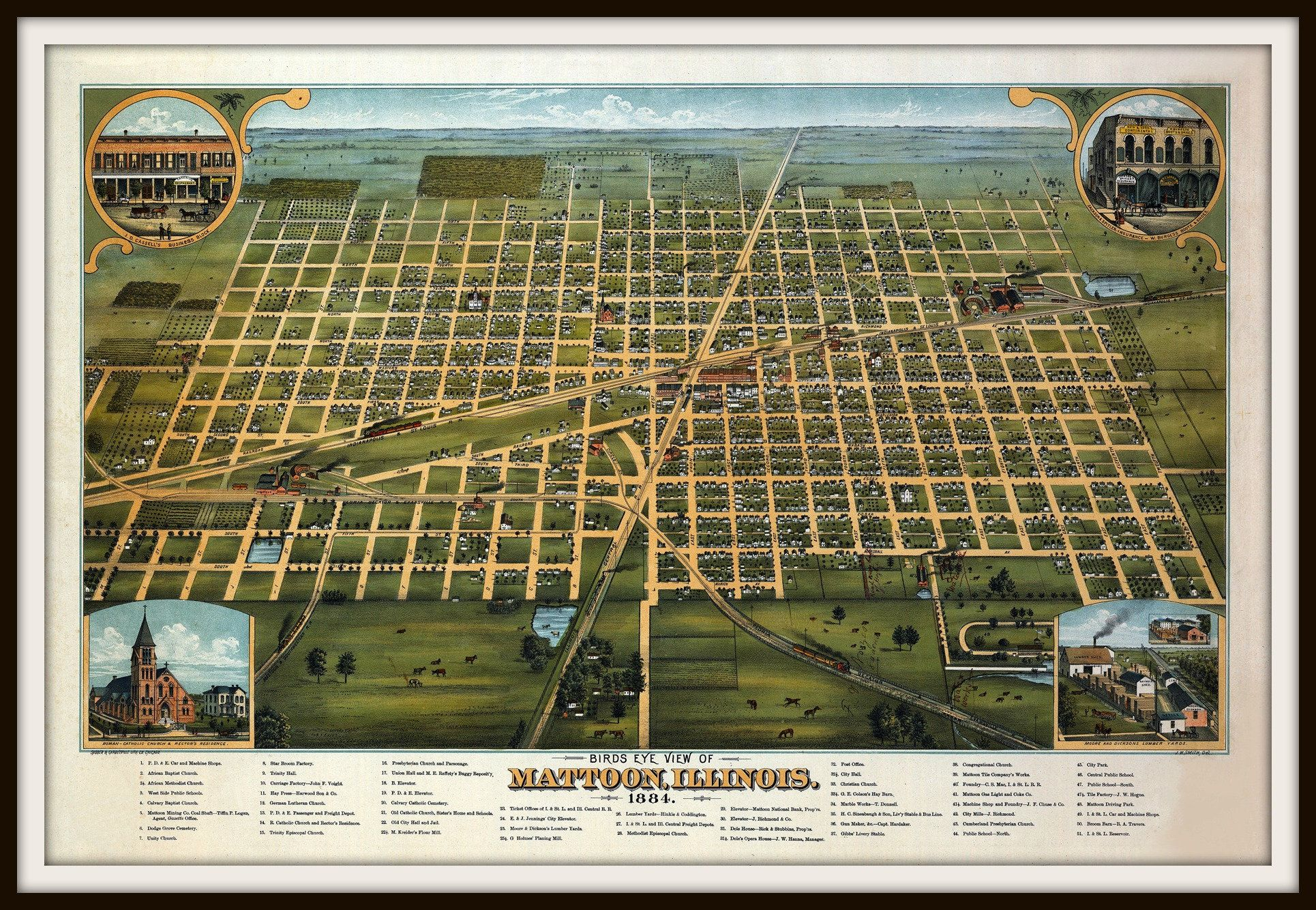 Mattoon Illinois panorama c1884 map 36x24