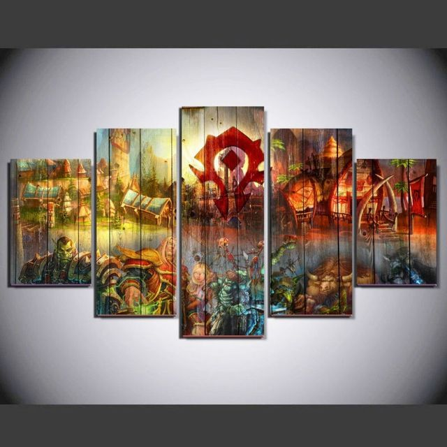 5 Panels New World Of Warcraft Wow Horde Game Poster Pictures For Living Room Wall Art Canvas Painti Cross Paintings Wall Decor Painting Canvas Canvas Wall Art