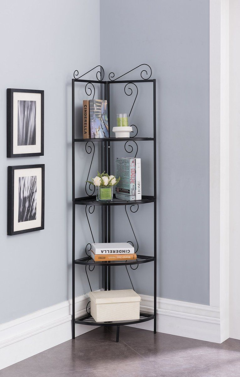 Metal Corner Bookcase Black Shelves Corner Shelves Bookcase