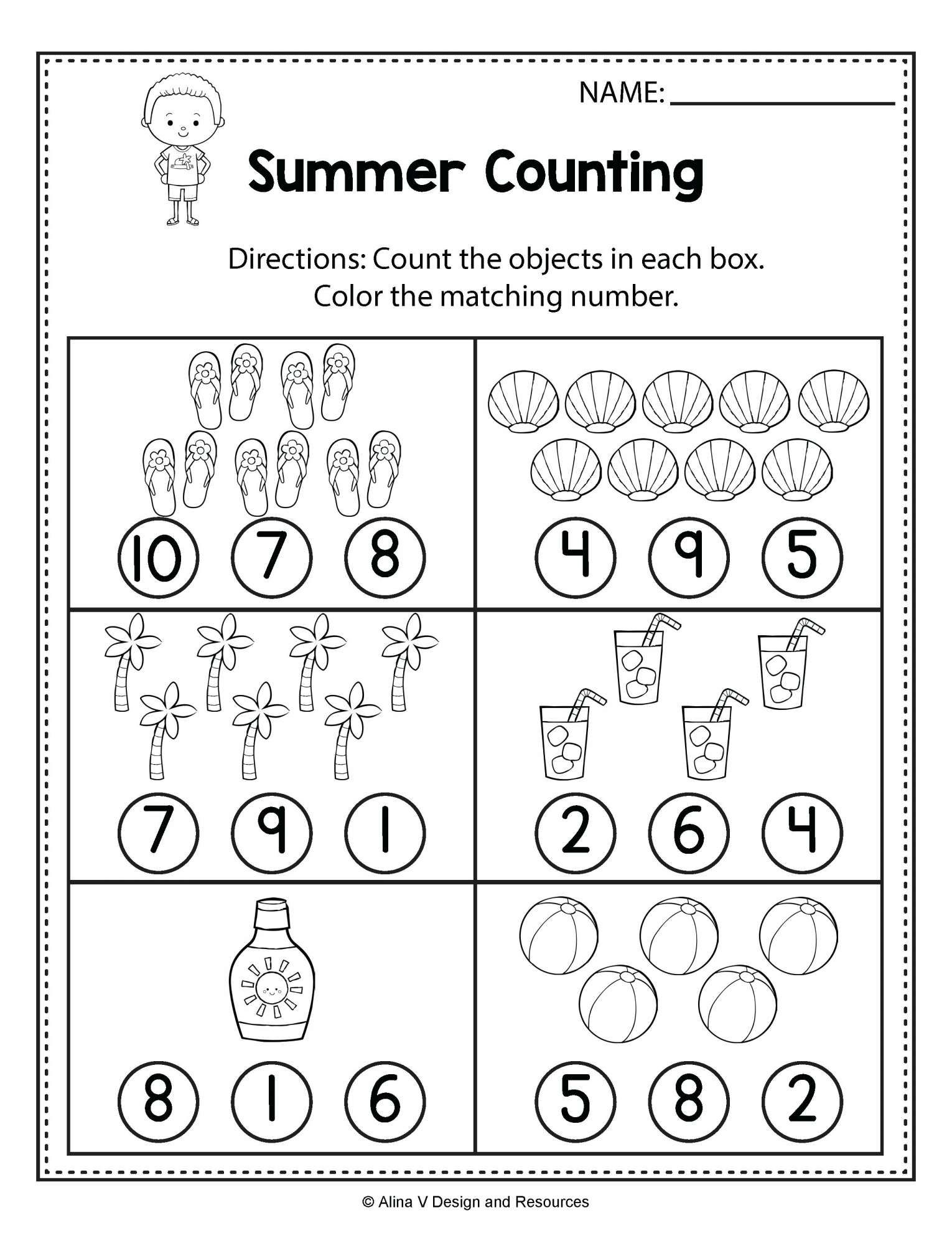 12 Worksheet Template For Kindergarten