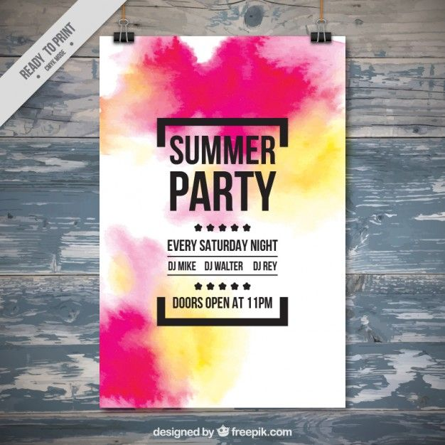 Watercolor Summer Party Poster Free Vector